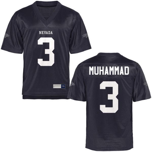 Men's Ahki Muhammad Nevada Wolf Pack Authentic Navy Blue Football Jersey