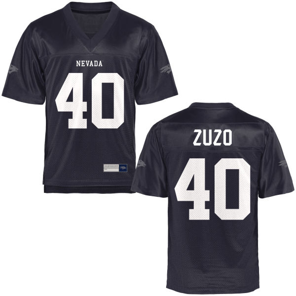 Men's Brent Zuzo Nevada Wolf Pack Authentic Navy Blue Football Jersey