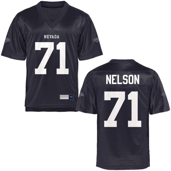 Men's Jake Nelson Nevada Wolf Pack Game Navy Blue Football Jersey