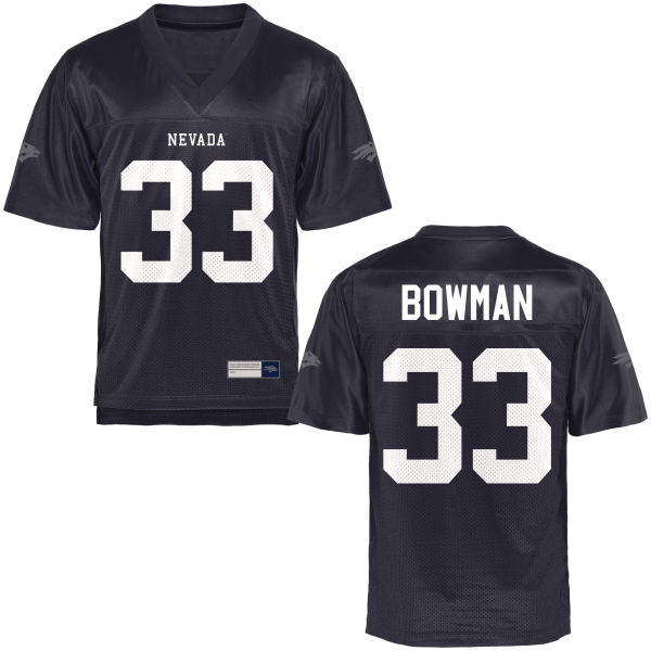Men's Morris Bowman Nevada Wolf Pack Game Navy Blue Football Jersey