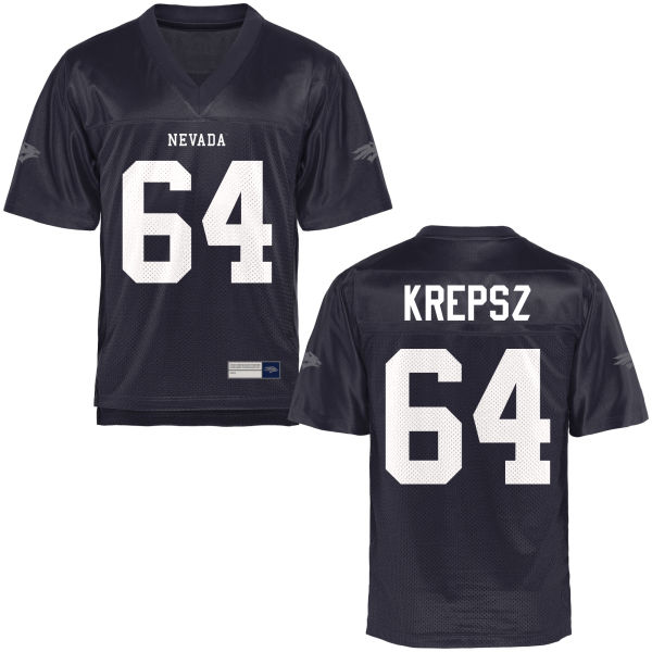 Men's Sean Krepsz Nevada Wolf Pack Game Navy Blue Football Jersey