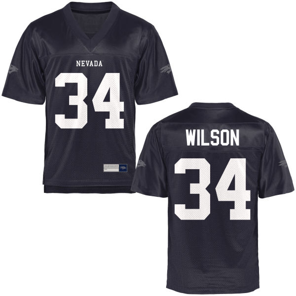 Men's Travis Wilson Nevada Wolf Pack Replica Navy Blue Football Jersey