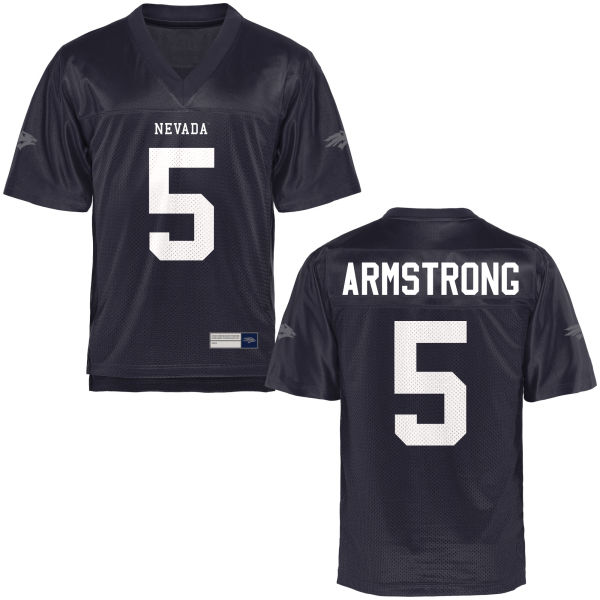 Youth Trevion Armstrong Nevada Wolf Pack Game Navy Blue Football Jersey