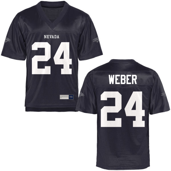 Men's Lucas Weber Nevada Wolf Pack Authentic Navy Blue Football Jersey