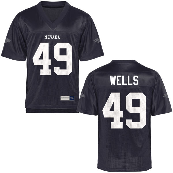Men's Trae Wells Nevada Wolf Pack Authentic Navy Blue Football Jersey
