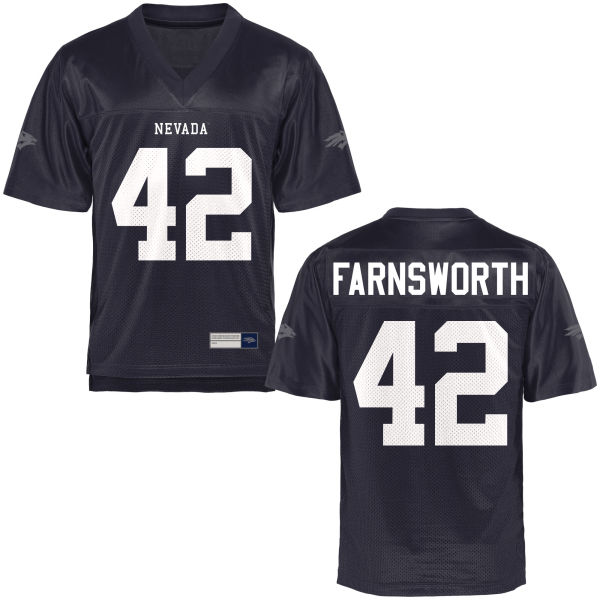 Men's Wes Farnsworth Nevada Wolf Pack Game Navy Blue Football Jersey